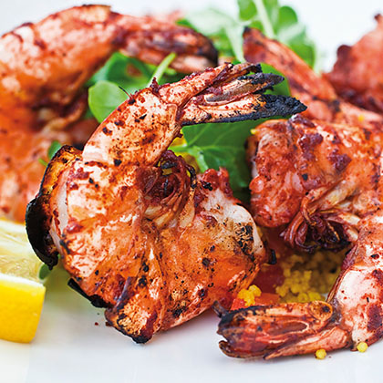 Grilled shrimp with tomato, cucumber and onion salsa